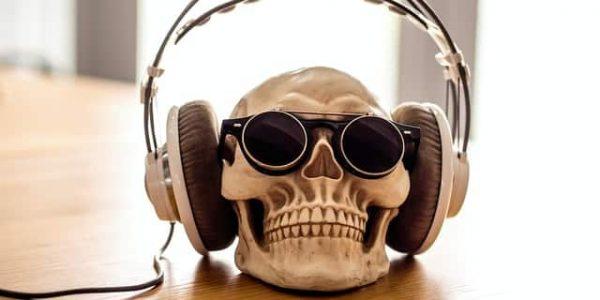 skeleton wearing headphones